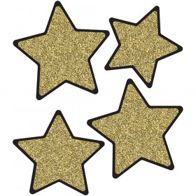 Solid Gold Glitter Stars Cut-Outs Sparkle And Shine