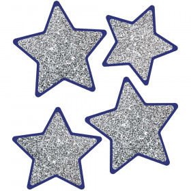 Sparkle + Shine Solid Silver Glitter Stars Cut-Outs, Pack of 36