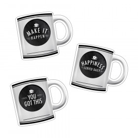 Industrial Cafe Motivational Coffee Mugs Cut-Outs, Pack of 36