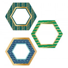 One World Hexagons with Gold Foil Cut-Outs, Pack of 36