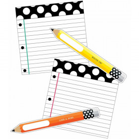 Black, White & Stylish Brights Pencils and Papers Cut-Outs, Pack of 12