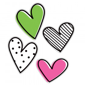 Kind Vibes Jumbo Doodle Hearts Cut-Outs, Pack of 12