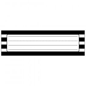 "Simply Stylish Black & White Stripe Nameplates, 9.5"" x 2.875"", Pack of 36"