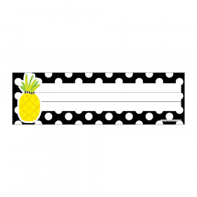 Simply Stylish Tropical Pineapple Polka Dot Nameplates, Pack of 36