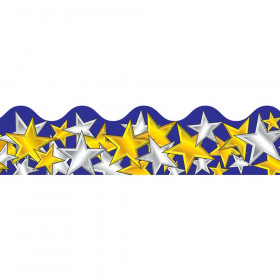 Gold and Silver Stars Scalloped Border, 39'