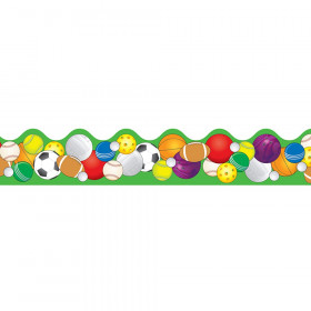 Sports Balls Scalloped Border, 39'