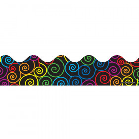 Rainbow Swirls Scalloped Borders