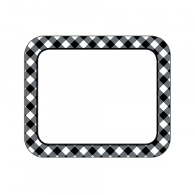 Black & White Gingham Name Tags Woodland Whimsy