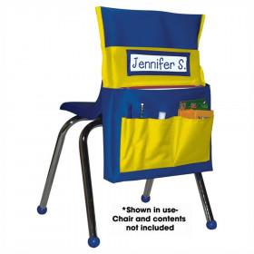 Chairback Buddy Pocket Chart, Blue/Yellow