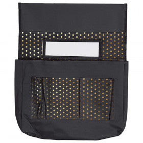 Chairback Buddy: Black with Gold Polka Dots