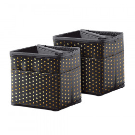 Tabletop Storage: Black with Gold Polka Dots, Pack of 2