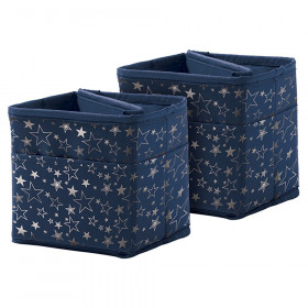 Tabletop Storage: Navy with Silver Stars, Pack of 2