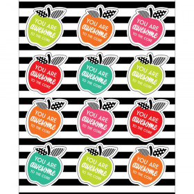 Black, White & Stylish Brights Motivational Apples Stickers, Pack of 72