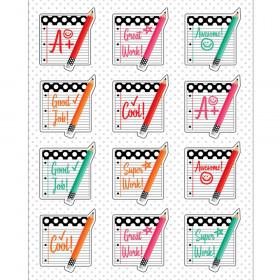 Black, White & Stylish Brights Motivators Stickers, Pack of 72