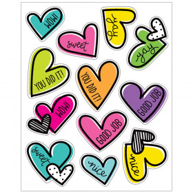 Kind Vibes Doodle Hearts Shape Stickers, Pack of 72
