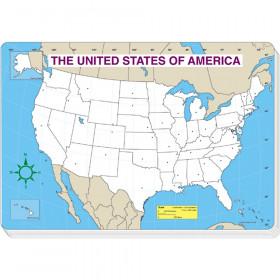 U.S. Map Blank Jumbo Pad, 30 Sheets, Grade PK-5