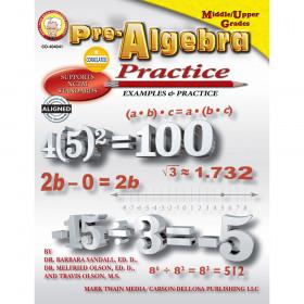Pre-Algebra Practice Book, Grades 6 - 12