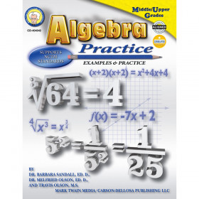 Algebra Practice Resource Book, Grade 7-12, Paperback