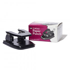 2-Hole Paper Punch, 2.75 Inch Centers, 30 Sheet Capacity, Black