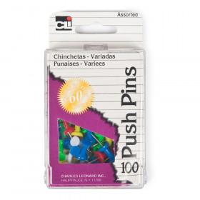 Push Pins, Asstd Colors, 100/Box