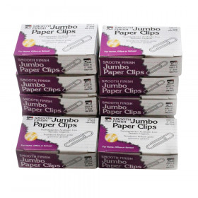 Paper Clips, Jumbo Gem, Nickel Plated, Silver, 100 Per Box, 10 Boxes
