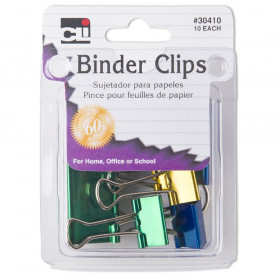 Binder Clips, Assorted sizes & colors, Pack of 10