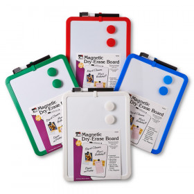"""Framed Magnetic Dry Erase Board with Marker & Magnets, Assorted Colors, 8.5"""" x 11"""""""