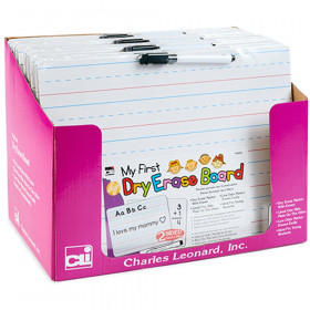 """My First"" Dry Erase Board with Marker/Eraser, Two-Sided Plain/Lined, White, Pack of 12"
