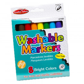 Markers - Washable, Broad Tip - Assorted Colors - 8/Bx