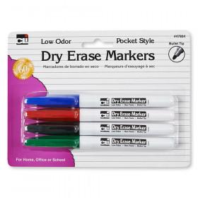 Dry Erase Markers 4 Clr Set Bullet Tip