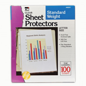 Sheet Protectors, Standard Weight, Letter Size, Clear, Box of 100
