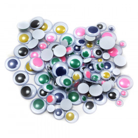 Wiggle Eyes - Round - Asst. Sizes & Colors - 100/B