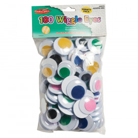 Wiggle Eyes, Jumbo Round, Assorted Colors & Sizes, Pack of 100