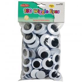 Wiggle Eyes, Jumbo Round, Assorted Sizes, Black, Pack of 100