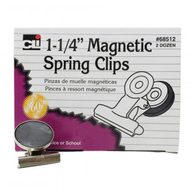 "Magnetic Spring Clips, 1-1/4"", Box of 24"
