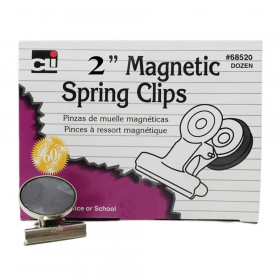 """Magnetic Spring Clips, 2"""", 12/Box"""