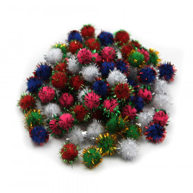 Creative Arts by Charles Leonard Pom-Poms, 1/2 Inch, Glitter Assorted, Bag of 80