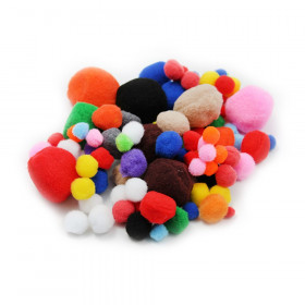 Pom-Poms - Asst. Sizes/Colors - 100/Bg