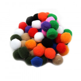 Creative Arts by Charles Leonard Pom-Poms, 1 Inch, Assorted Colors, 50