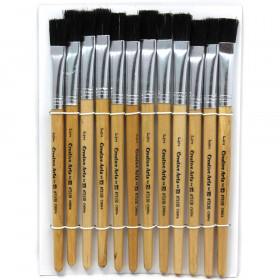 Flat Tip Easel Paint Brushes, Short Stubby Handle, 0.50 Inch, Natural Handles, Black Bristles, 12/Pack
