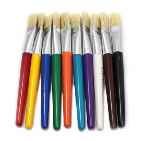 Brushes - Stubby Flat - Yl Bk Rd Pu Wh Bl Or Gr Br