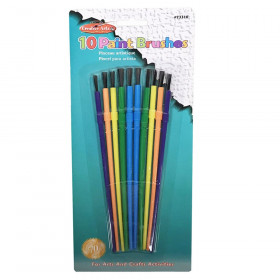 Creative Arts by Charles Leonard Plastic Artist Brushes, Assorted Sizes & Colors, 10/Pack