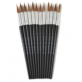 Water Color Paint Brushes with Round Pointed Tip, # 12, 1.06 Inch, Camel Hair, Black Handle, 12/Pack