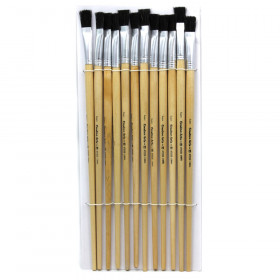 Brushes Easel Flat 1/2In Bristle 12Ct