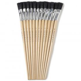 "Creative Arts Brushes - Easel Flat - 3/4"" Bristle, Black, 12 Ea"