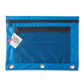 Pencil Pouch for Binder with 2 Pockets, Front Mesh Pocket, Assorted Colors