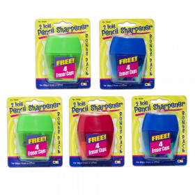 3 Hole Pencil Sharpener w/catcher, Assorted Colors