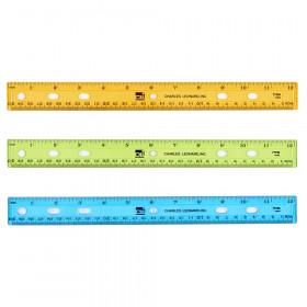 "Ruler - Plastic - 12"" - Flat - UPC Coded - Translucent Assorted Colors"