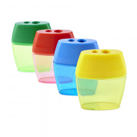 Pencil Sharpener, Deluxe Two-Hole Style with Shaving Receptacle, Assorted Colors
