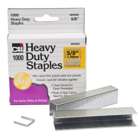 Heavy Duty Staples, 5/8 Inch Leg Length, Carbon Steel, Silver, 1000/Box
